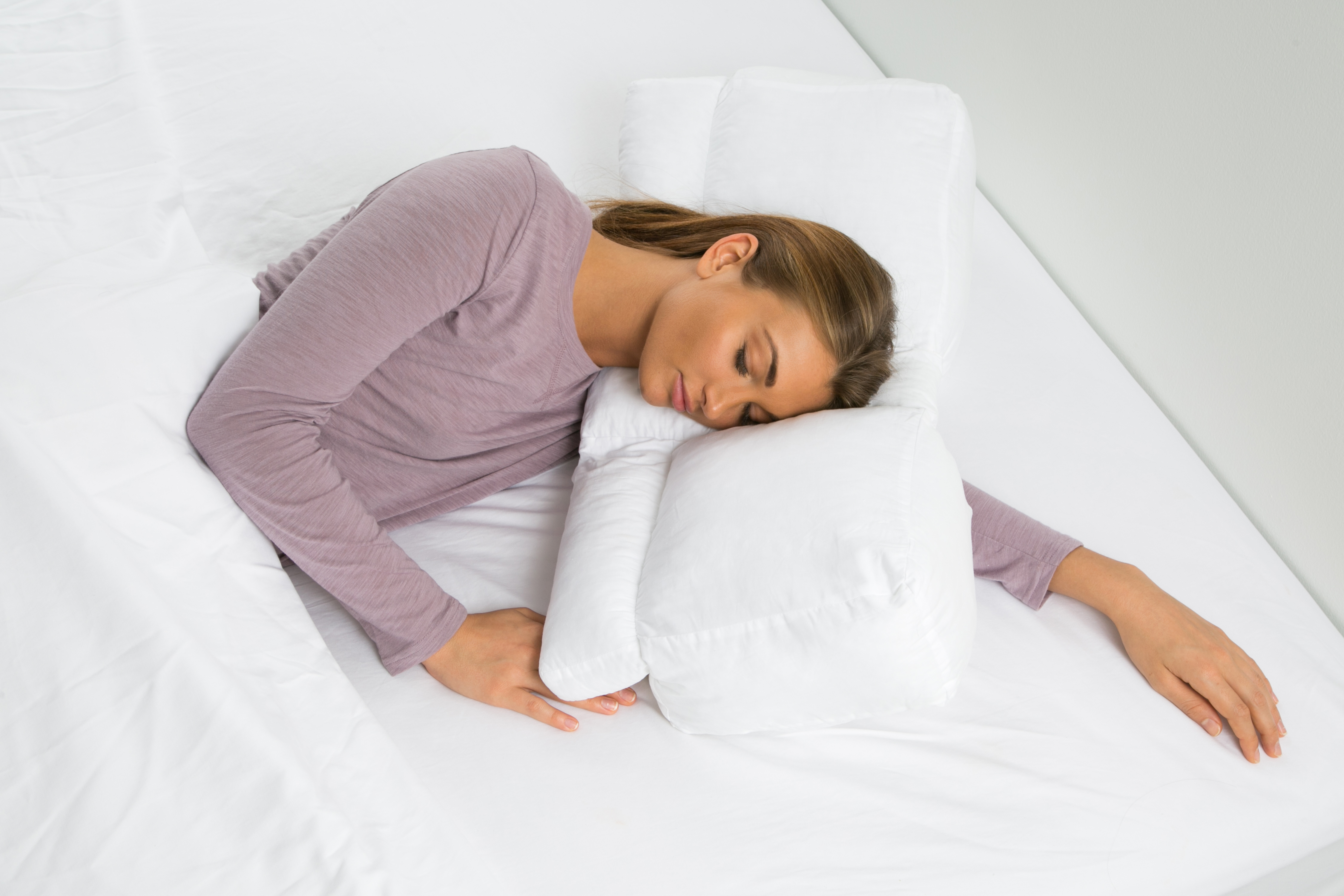 Better Sleep Pillow White Goose Down  Sleeping w Arm