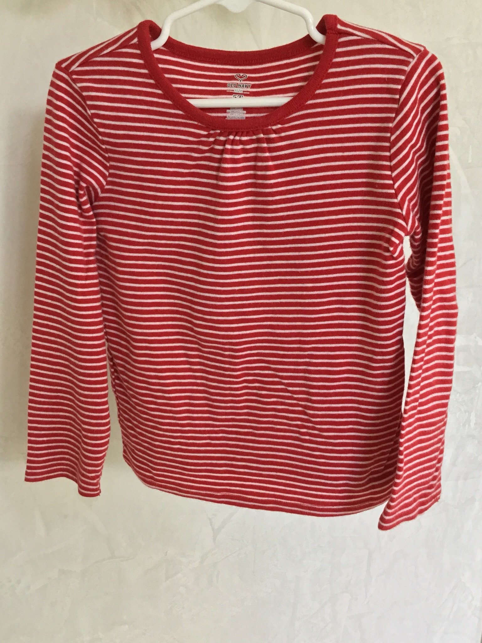 Old Navy Red and White Striped Long Sleeve Tshirt Size 5T