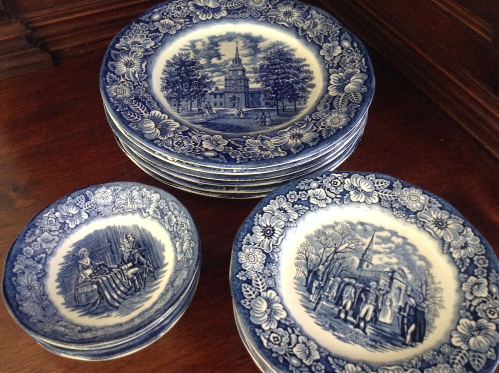kitchen table sets for sale sink bottom grid liberty blue historical colonial scenes dinnerware, set of 18
