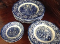 Liberty Blue Historical Colonial Scenes Dinnerware, Set of 18