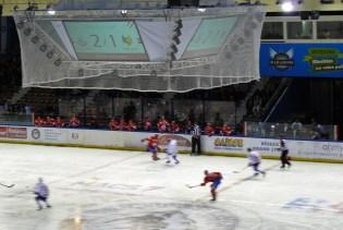 Pendant le match de hockey sur glace Lyon-Grenoble.