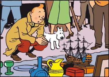 Tintin découvre la Licorne place du Jeu de Balle, objet qui attisera bien des convoitises.