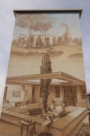 Tony Garnier s'inspirait des constructions de l'Antiquité, d'où cette maison avec patio représentée sur une fresque.