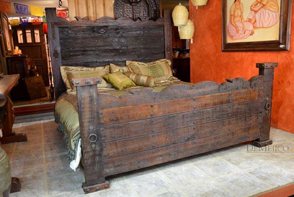 Rustic Headboard Old Door Hacienda Bed  Demejico