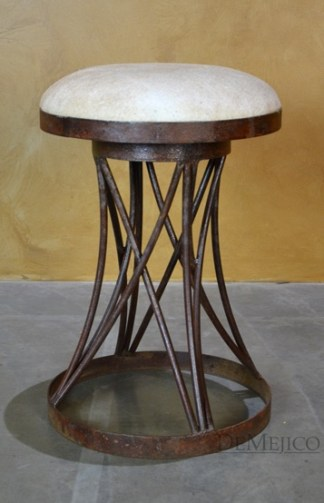 round cowhide counterstool