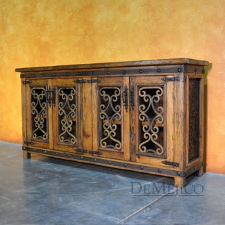 "Reclaimed Wood TV Stand, 72"" Old Espanola Alamo TV Stand"