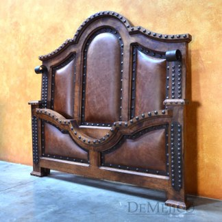 Mesquite Chapital Leather Bed, Spanish Leather Bed