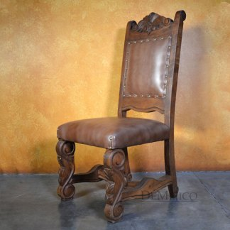 Spanish Carved Dining Chair, Silla Hoja