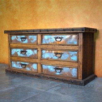 Hacienda Dresser with Copper, Old World Spanish Design