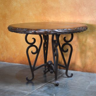 Mesa Francesa Round Dining Table, Mesquite Dining Table, Wrought Iron Dining Table - Demejico