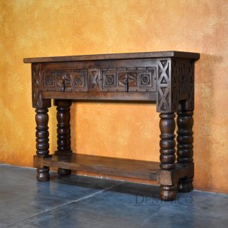 Small Indonesia Sofa Console Table, Mediterranean Carved Console