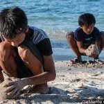 Dos niños arman bolas de arena: uno sobre la orillay el otro en arena seca
