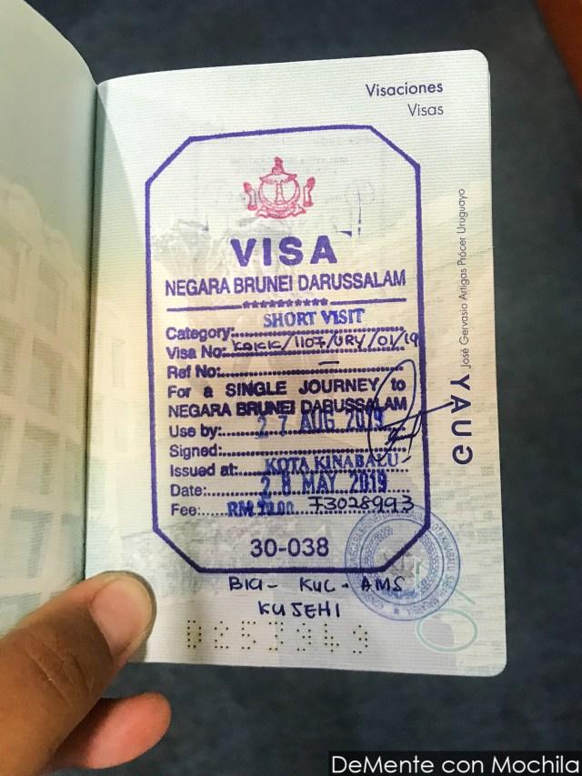 Visa que permite estadía de 30 días en Brunéi