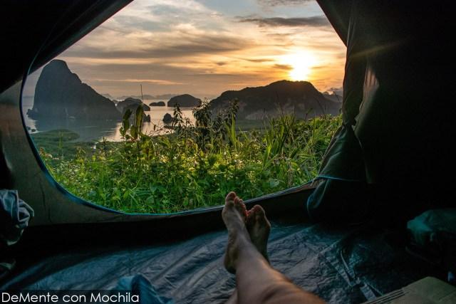 amanecer desde la carpa en samet nangshe