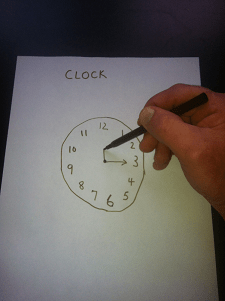 Clock drawing test, ask the person to draw the time onto the clock face