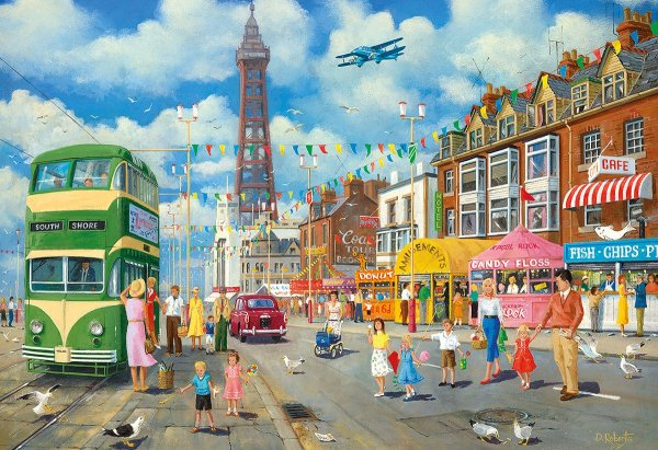 GIBSONS Blackpool Promenade Jigsaw with Blackpool tower, tram and people on holiday