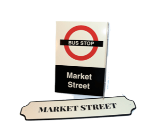 Market Square Bus Stop Train Setting Library Post Office