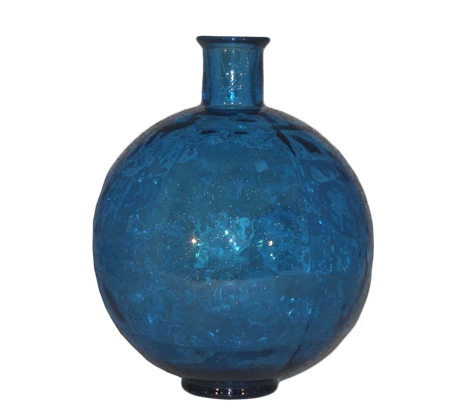 Vase Boule en verre bleu turquoise  Demeure et Jardin