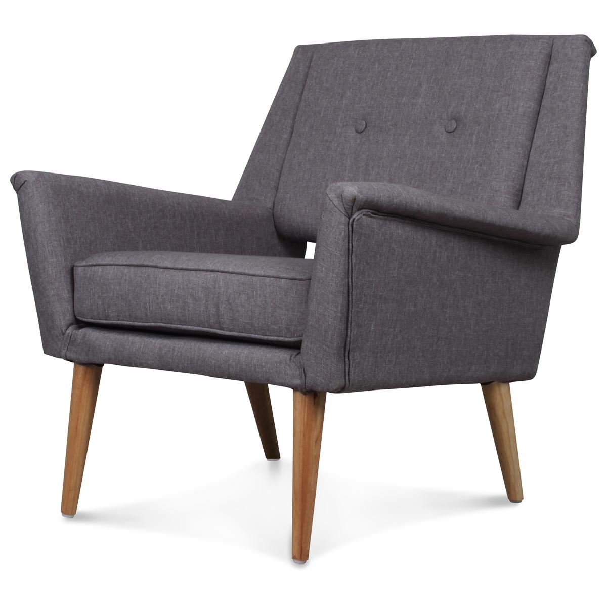 fauteuil design scandinave vintage 60 gris retro