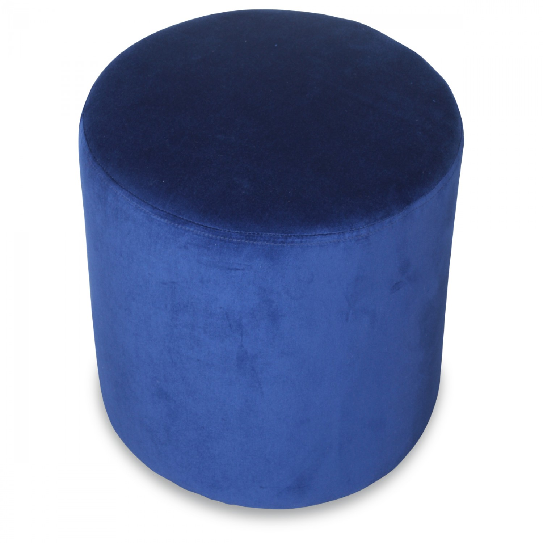 Petit Tabouret Rond en Velours Bleu Vif  Demeure et Jardin