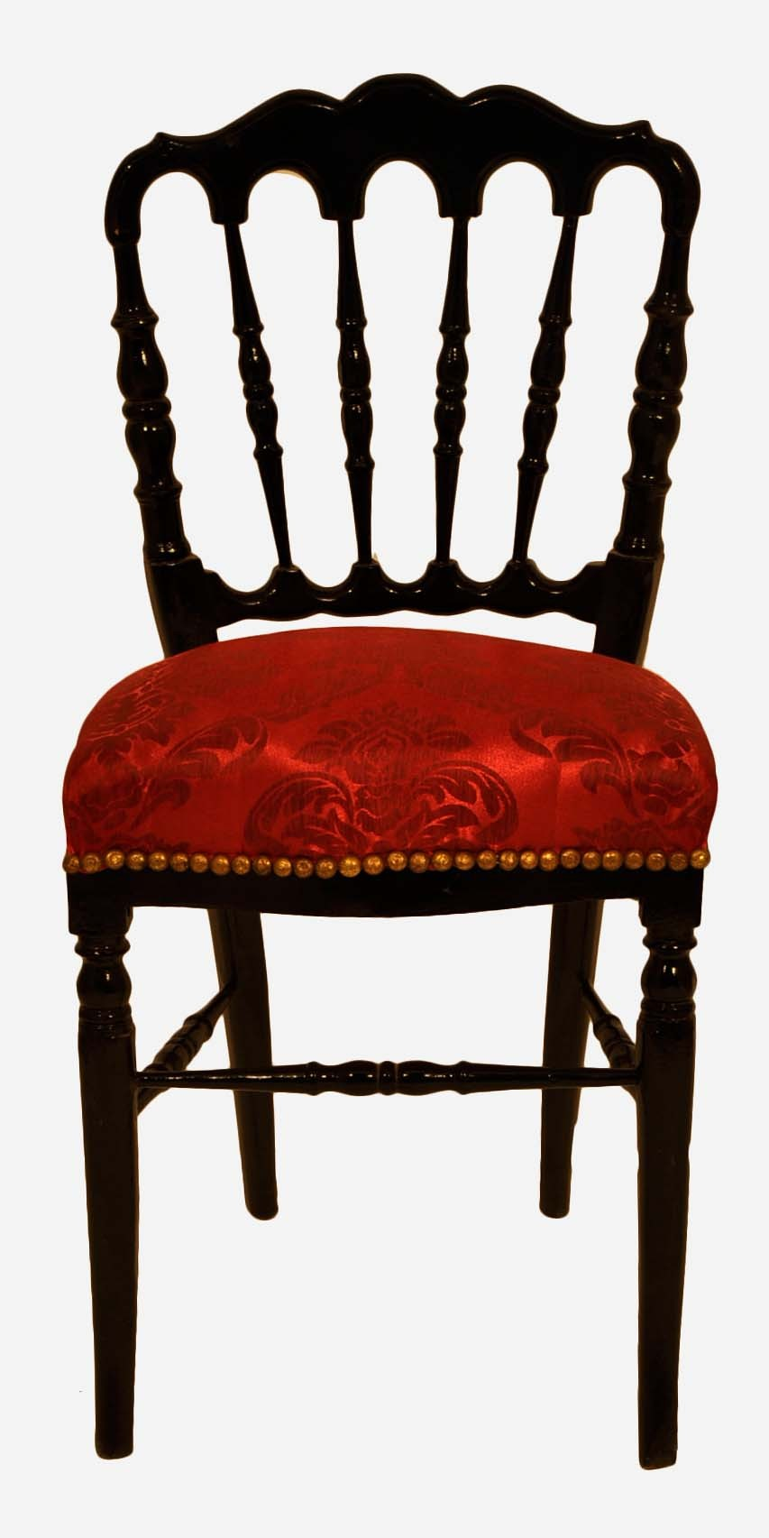 chaise de style napoleon iii avec tissu en damas rouge