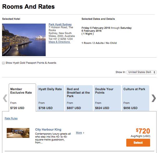 Park Hyatt Sydney cash rate