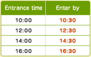 scheduled entrance times