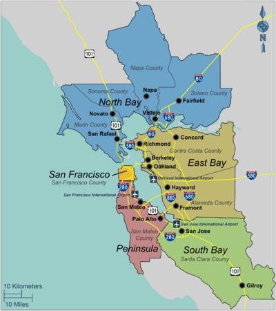 Regions of the Bay Area. Courtesy of http://www.tracyrealestatetoday.com/california-bay-area-map