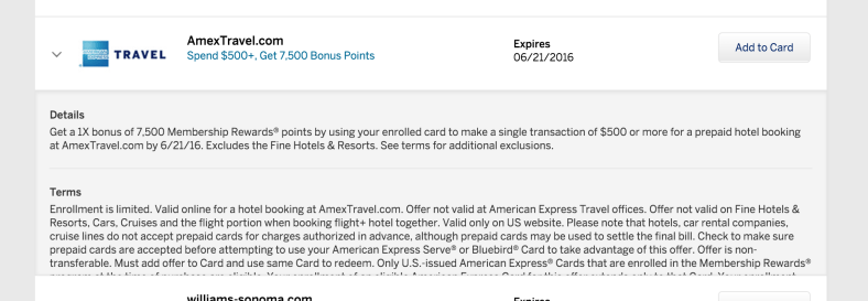 Amex Travel 7500 MR