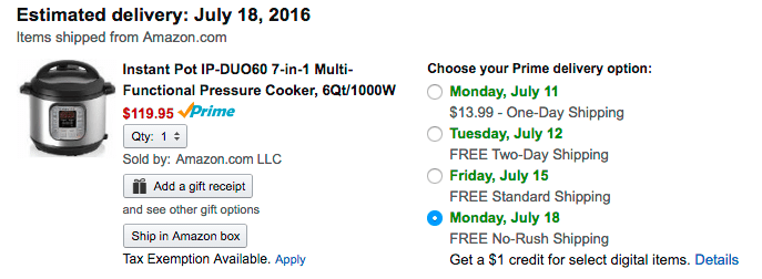 $1 credit for choosing No-Rush Shipping