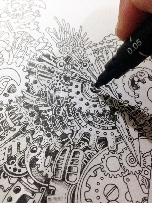 Owl Steampunk Drawing Sketches