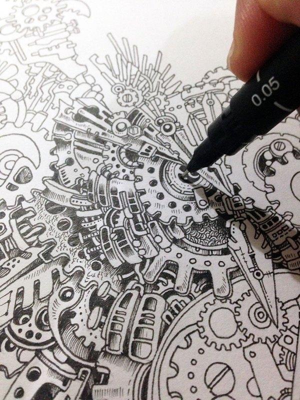 Strikingly Detailed Steampunk Owl Illustration Doodle