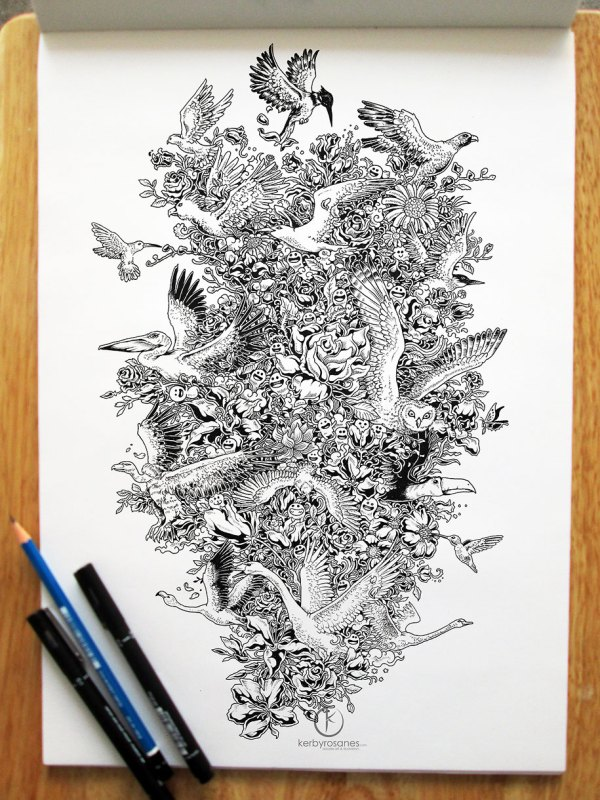 Beautifully Detailed Pen Doodles Artist Kerby Rosanes