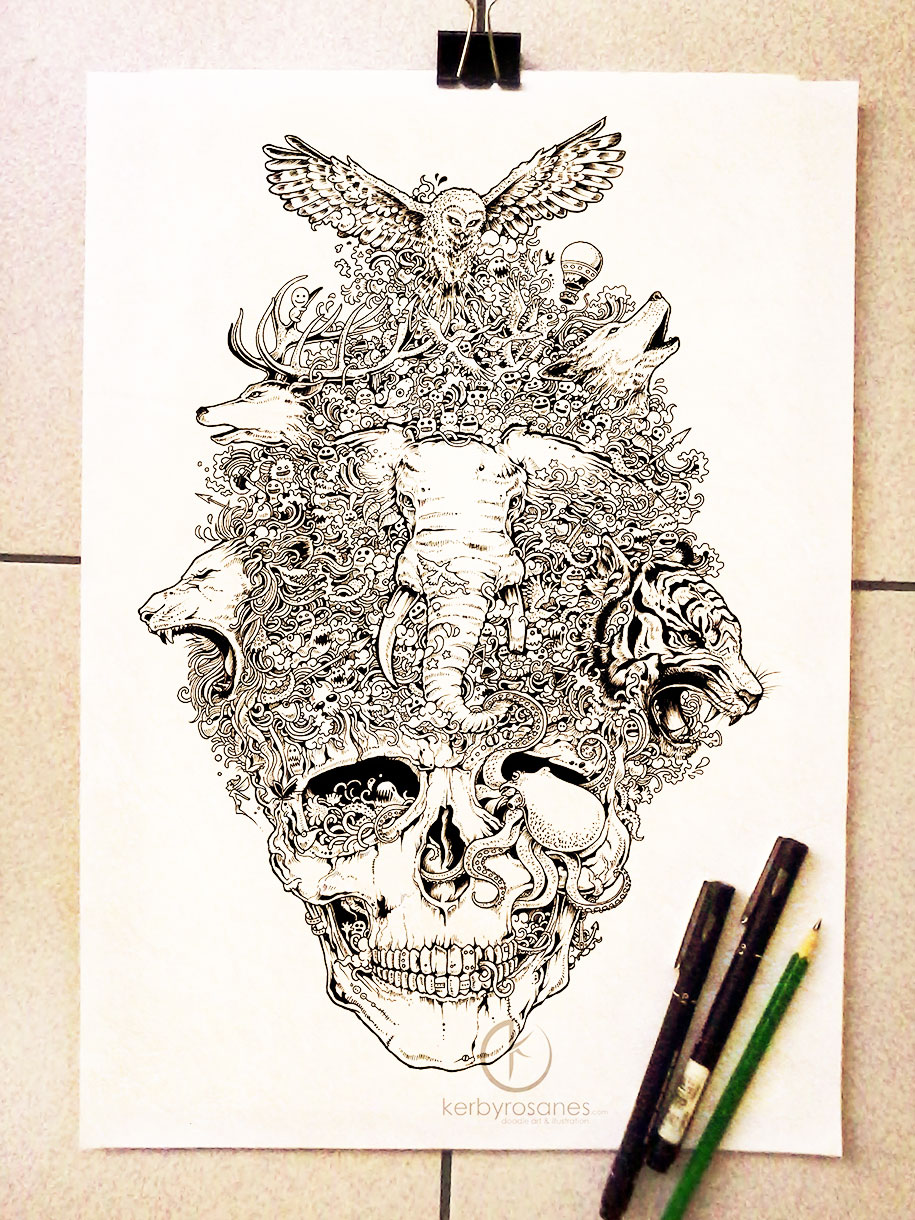 Mobster Skull Tattoo Drawings