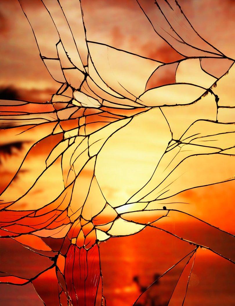 broken mirror evening sky photography bing wright 9 - Pôr-do-sol visto através de espelhos quebrados