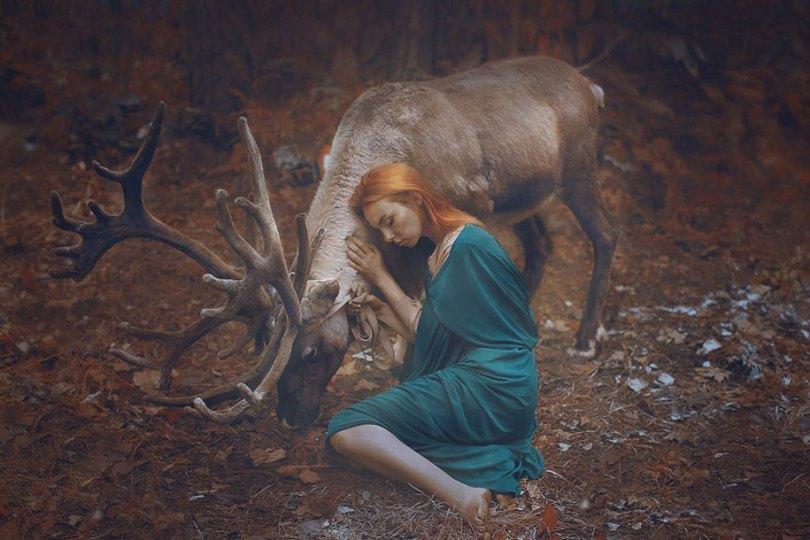 surreal animal human portraits katerina plotnikova 17 - Fotografias místicas: Pose de animais reais com seres humanos
