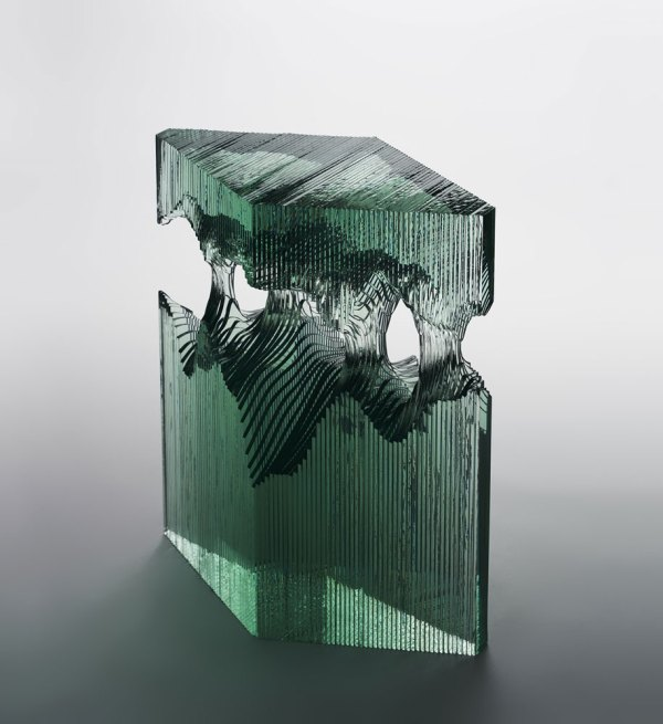 Artist Layers Sheets Of Glass Create Ocean Waves