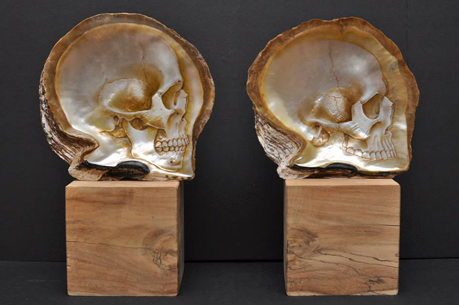 Beautifully Realistic Skulls Carved Into Mother Of Pearl Shells
