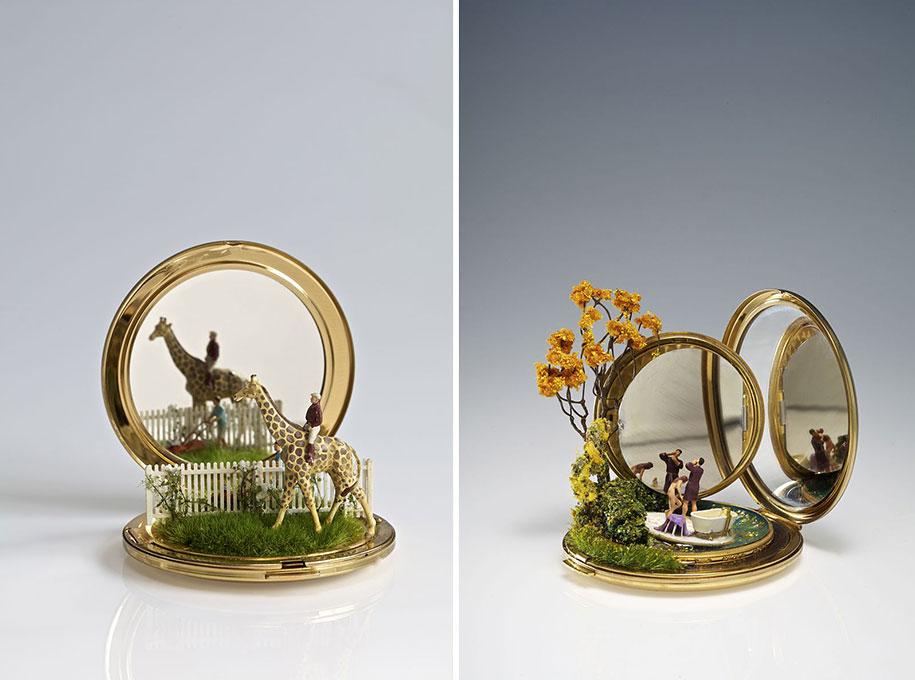3d Cute Dog Wallpaper Miniature Landscapes Sculpted On Household Objects By