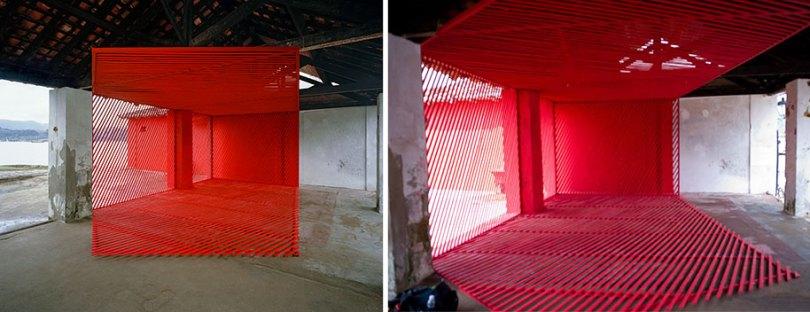 forced perspective art bending space georges rousse 19 - Foto em perspectiva: Arte geométrica 3D por Georges Rousse é visível apenas de um ângulo