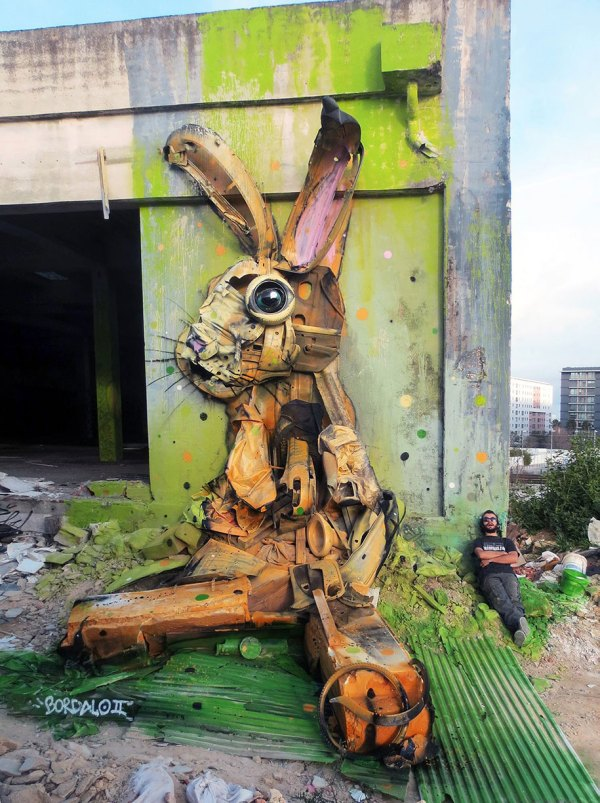 Street Artist Junk Create Big Trash Animal Sculptures