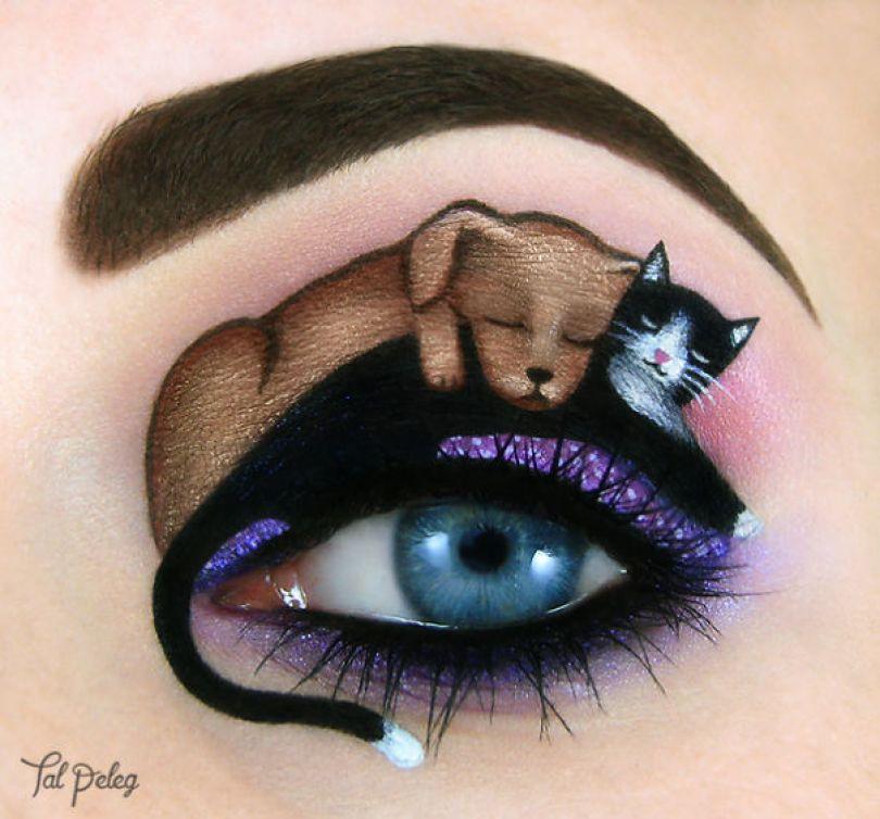 make up eyelid eye art drawings tal peleg israel 3 - Artista israelense desenha arte de maquiagem em suas próprias pálpebras