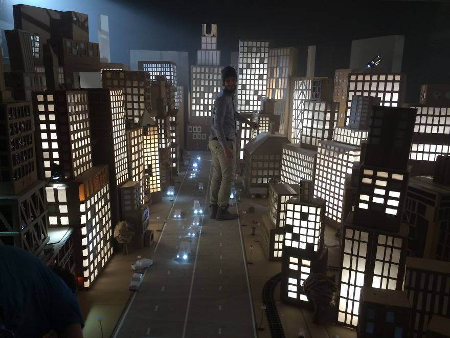 City made of Cardboard Boxes