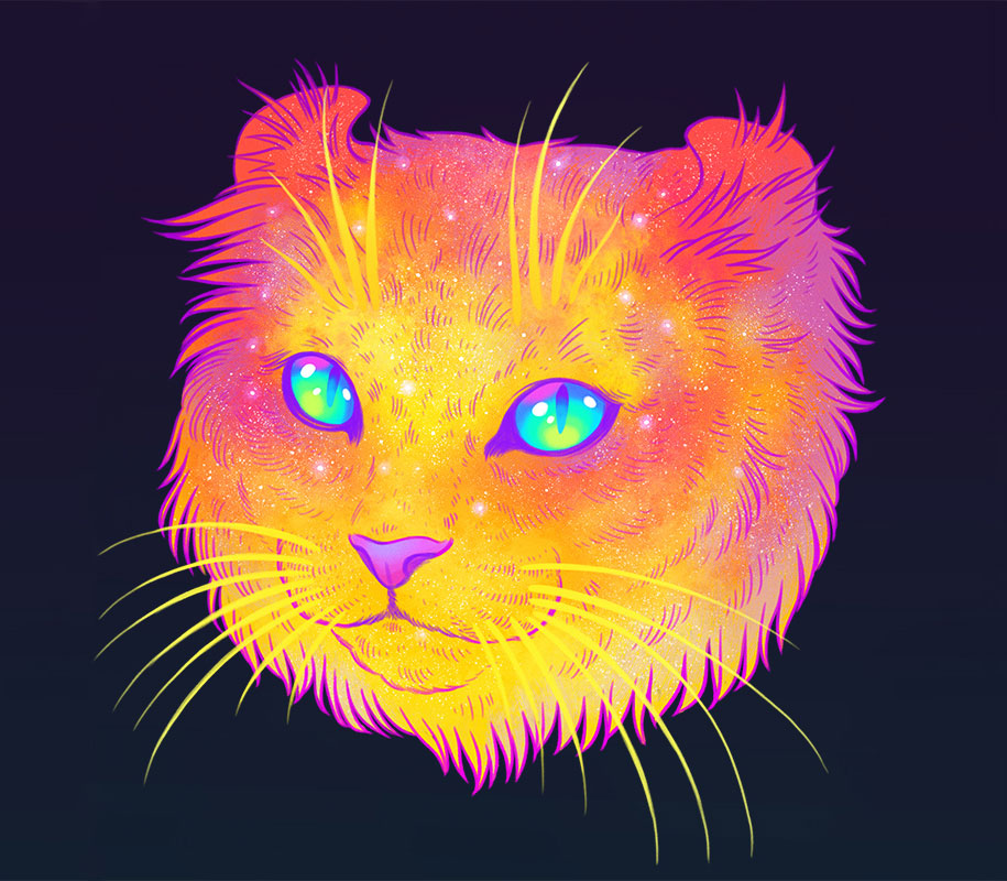 How To Fix Falling Wallpaper Galactic Cats Psychedelic Illustrations Merge Cats And Space