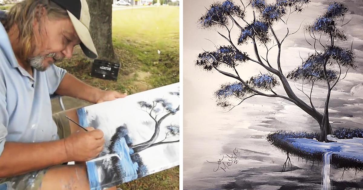 Homeless Man Uses Panhandling Money To Buy Art Supplies