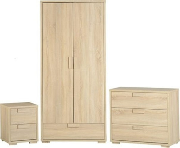 Jamestown Oak and Cream Painted Bedroom Trio Set