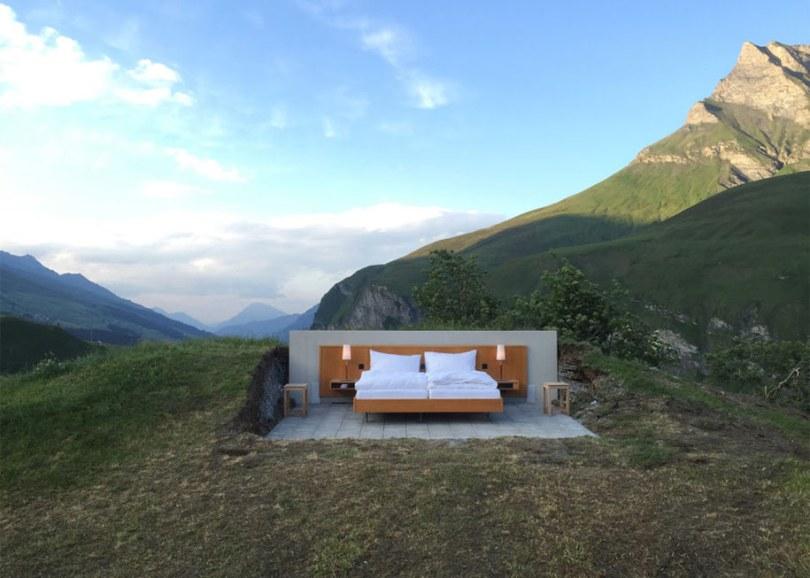 mountain bed suite swiss alps null stern hotel 8 - Dormir literalmente ao ar livre nos Alpes suíços vendo as estrelas