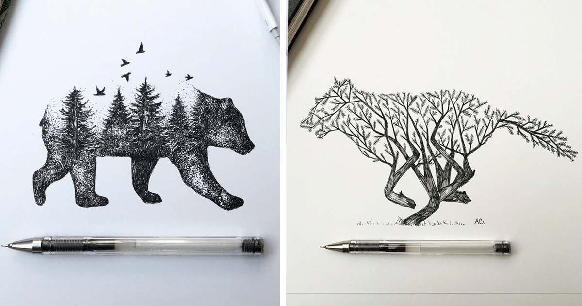 Trees Grow Into Majestic Animals In Pen Amp Ink