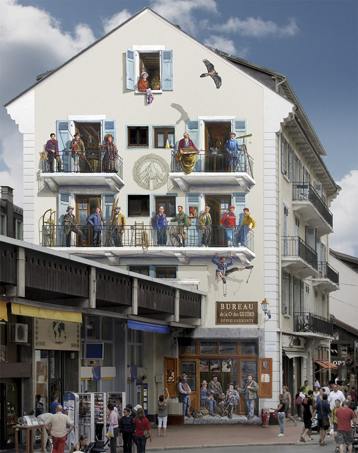 street art hyper realistic fake facades patrick commecy 14 - Artista francês transforma fachadas de prédios em desenhos cheios de vida