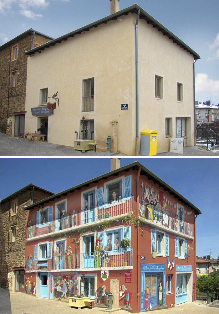 street art hyper realistic fake facades patrick commecy 27 - Artista francês transforma fachadas de prédios em desenhos cheios de vida